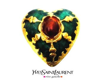 YVES SAINT LAURENT ~ Authentic Vintage Gold Plated Enameled Green Orange Heart Brooch - Rive Gauche