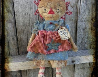 Extreme Primitive Rag Doll Folk Art, Raggedy Ann, Patriotic Americana Summer Decor, OFG FAAP