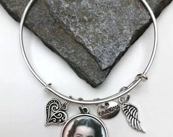 Grandma Memorial Photo Charm Bracelet, Memorial Bracelet, Grandmother Memorial, Grandma Memory Jewelry