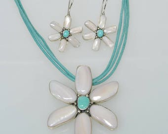 Sterling Silver Turquoise Mother of Pearl Triple Strand Flower Floral Matching Earrings Pendant Necklace SET