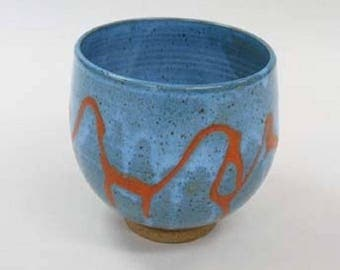 Tall Bowl in turquoise with coral glaze