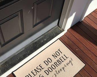 Please Don't Ring Doorbell, Baby is Sleeping Sign Doormat, Door Mat Indoor/Outdoor 18x27 Baby Shower Gift by Be There in Five