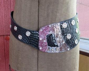 "Vintage 1980s black faux snakeskin belt chunky silver metal buckle jewels rhinestones New Wave Punk 37 1/2"" waist (52017)"