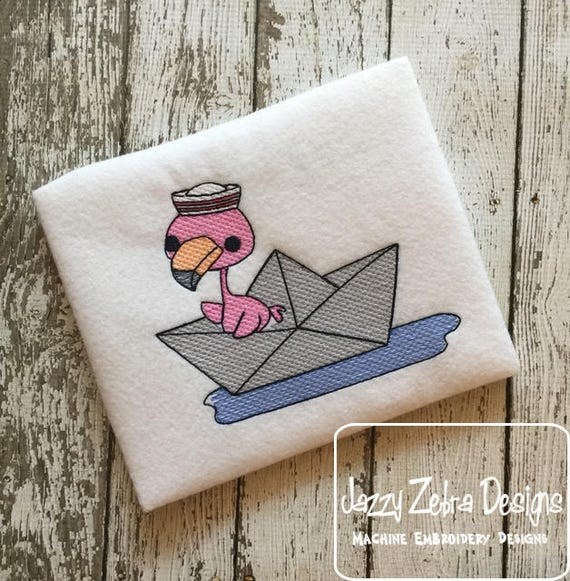 Flamingo in paper boat sketch embroidery design - flamingo embroidery design - sailing embroidery design - summer embroidery design - boat