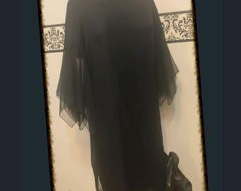 1960's Goth Black Dress by Carol Ames, Modern Size 7-8, Vintage Shredded Twiggy LBD Dress, Vintage Vampire Dress, 60's Punk Little Black Dre