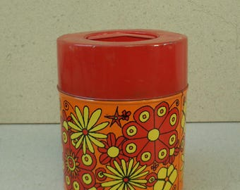 Vintage Psychedelic flower tin , MC Japan Psychedelic flower tin canister , vintage flower power psychedelic tin canister .