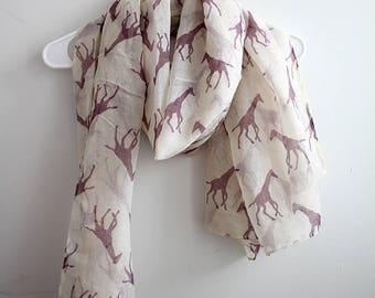Purple giraffe in beige scarf, fall scarf, loop scarf, winter scarf, Christmas gift, for her, winter shawl, autumn scarf