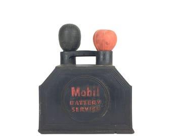 Vintage Mobil Battery Service Rubber Gas Station Caddy Vintage 1950s Rubber Mobil Battery Service Tool Holder 1960s Mobil Oil Advertising