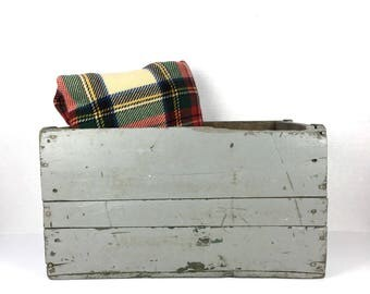 Vintage Wood Crate Painted Wooden  Crate Gray Antique Wood Crate Silver Painted Vintage Wood Crate Box Primitive Wood Crate