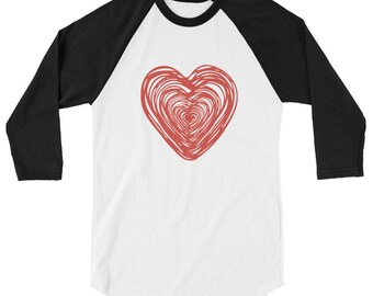 Big Heart, Ladies baseball top, Valentines Day shirt, Womens Valentines shirt, xoxo shirt, kisses shirt