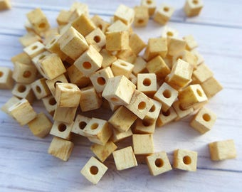 Natural wooden square beads 5x5mm 50pcs