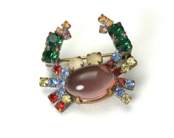Vintage 1940s Rare Lucite Jelly Belly Rhinestone Crab Brooch Pin
