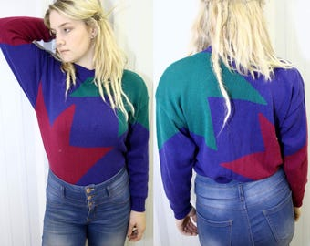 VTG RETRO PULLOVER ϟ New W/ Tags Geometric Slouchy Long Sleeve Color Block Knit Jumper / Sweater