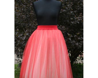 two tone adult tulle skirt two colors Tulle skirt ombre tulle skirt bridesmaid tulle skirt elastic waist tulle skirt red bridal shower tulle