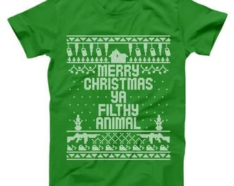 Home Merry Christmas Ya Filthy Animal Funny Xmas Sweater Design Basic Men's T-Shirt DT0221