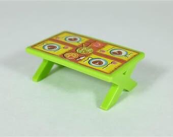 1970 Vintage Fisher Price rectangular green picnic table - Fisher Price retro Little People table - Fisher Price house furniture