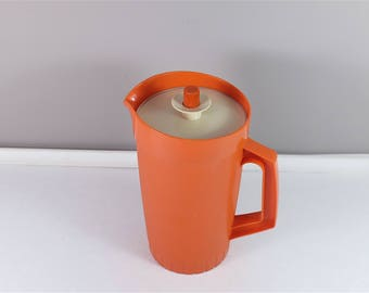 Vintage orange Tupperware Juice Pitcher - Vintage Tupperware Juice Jug - Tupperware pitcher 874-8