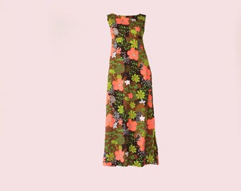 60's Vintage Neon Floral Psychedelic Kawaii Maxi Dress