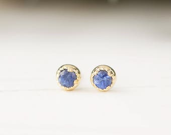14k gold blue sapphire studs earrings, 3mm blue sapphire earrings, simple minimalist studs, october birthday gift, dal-e101-3mm-bsap, RTS