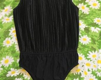 Jeanne Marc Bodysuit / Black Satin Pleated Bodice / Vintage Bodysuit / 80's Fashion One Piece / Accordion Pleats /High Waisted Bodysuit