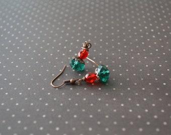 Vintage small elegant earrings, Handmade earrings, Green and red earrings, Under 10 dollars, Gift for her, Minimalist earrings, Wedding.