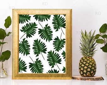 Tropical Leaves - PRINTABLE Wall Art / Hawaiian Leaves Wall Art / Hand Drawn Tropical Print / Dark Green Leaves / Tropical Leaves Pattern
