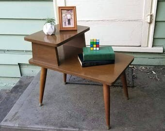 Mid Century End Table Two Tier Vintage