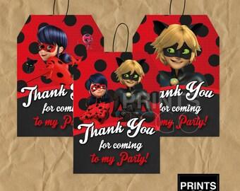 Miraculous Ladybug birthday, Miraculous Ladybug party supplies, Ladybug party, Miraculous Ladybug thank you card