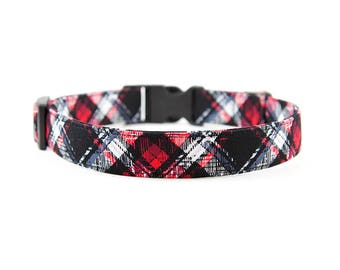 Plaid Dog Collar // Size S-XL // Adjustable Length // Fabric: Red White and Gray Valentines Day Plaid