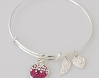 AA1034B  Red and Clear Pave Crystal Adjustable Wire Bracelet w Angel Wing & Heart Metal Charms ~ Silver Plated