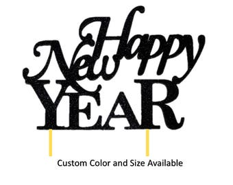 Happy New Year Cake Topper, 1pc, New Year, Gold Glitter, Cake Decor, Handcrafted Party Decor, Party Supplies