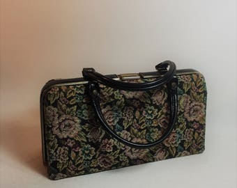 Vintage Tapestry Purse With Gold Trim, Black Straps and Kiss Clasp Closure