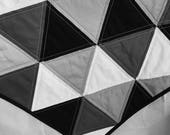 Black, White and Gray Modern Triangle Quilt