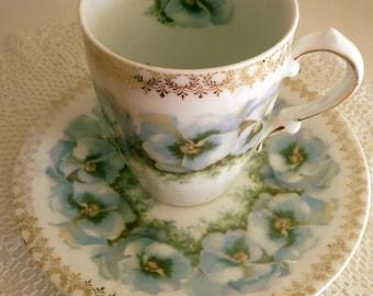 Darling PANSY Tea Cup w Saucer! Vintage/Antique~Scherzer Z.S & CO Mignon Bavarian Porcelain~Petite~Pansies~Blues/Greens/Gold~SwEEt Flowers!