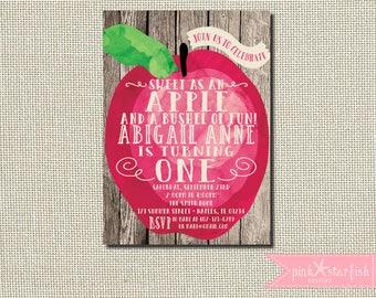 Apple Invitation, Apple Birthday Invitation, Fall Birthday, Apple Party, Apple of my Eye, Shabby Chic, Rustic Invitation, Apples Invitation