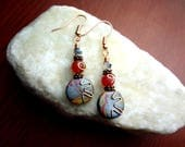 Pink and Orange Copper Wire Wrapped Polymer Clay Earrings