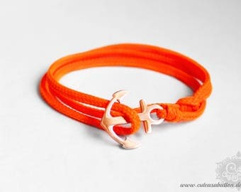 SAILOR of steel - neon orange wrap bracelet anchor stainless steel roségold style