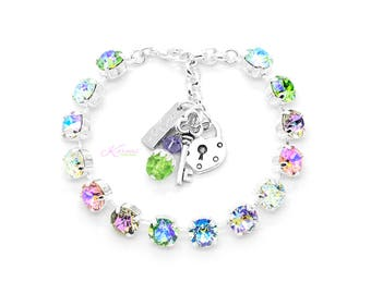 SUGAR KISSES 8mm KDS Charm Bracelet Made With Swarovski Crystal *Pick Your Finish *Karnas Design Studio™ *Free Shipping
