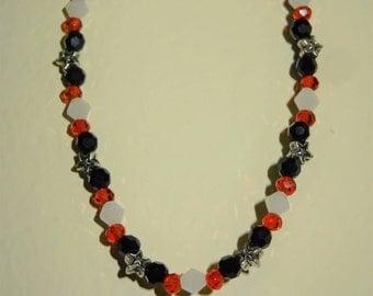 Black, White & Red Beaded Bracelet