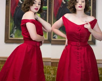 1950s Red Dress | 50s Dress | 1950s Dress | Blood Red Dress | New Look | 50s Formal Dress | 50 Evening Dress | Fit & Flare | 50s Party Dress