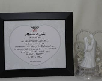Christian Marriage Prayer, Catholic Wedding Gift, Personalized Wedding, Wedding Remembrance, Keepsake, Marriage Gift, 8 x 10 inch framed