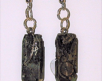 Steampunk Earrings with Vintage Watch Movement #14