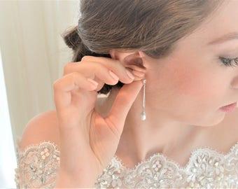 Glitzy Crystal and Pearl Bridal Earrings