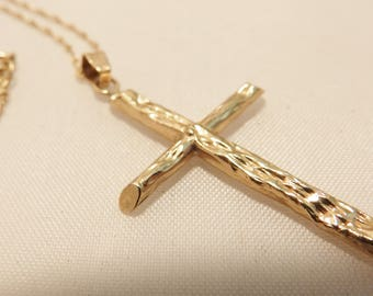 Modern 14K Yellow Gold Textured Cross Necklace