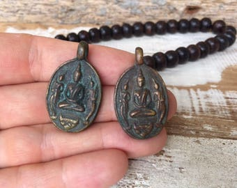 Set of 2 Thai Buddha Amulet Pendants / Thai Amulet Pendants / Brass Amulet Pendants / Amulets / Buddhist Amulets / Amulet / BB36