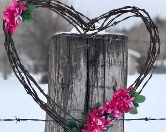 Pink Flower Barbwire Heart