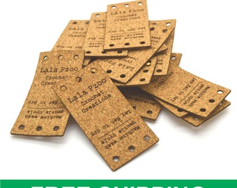 "100  Cork labels 1x2"" Personalized cork labels, Cork tags , Crochet labels , Knitting labels"