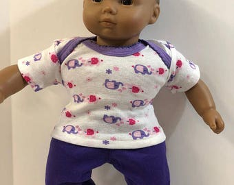 "15 inch Bitty Baby Clothes, 2-Piece Outfit, Cute ""Purple & Pink ELEPHANTS"" Top, Purple Pants, 15 inch AG American Doll Bitty Baby/Twin Doll"