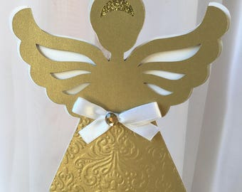 Baptism Decoration/ Christening/ Baptism centerpieces stick/ Baptism/ Angel/gold and white angel