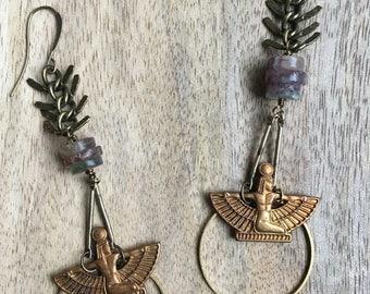 Goddess earrings, Isis earrings, Egyptian earrings, Vintage earrings, Hoop earrings, Dangle drop earrings, Boho earrings, Gypsy jewelry